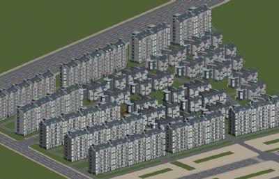 苏州住宅小区鸟瞰max模型