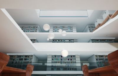 现代图书馆C4D模型