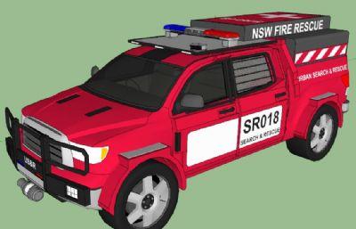 消防救援皮卡汽车su模型