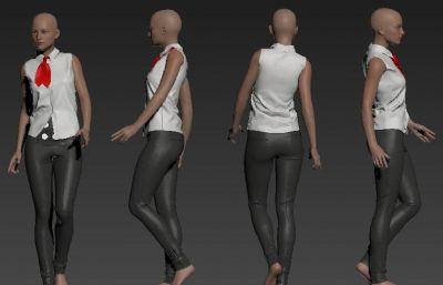 女性夏�b服�b模特OBJ模型