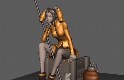 坐在木箱子上思考的女孩