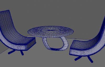 �F代�易桌椅maya模型