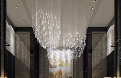 酒店�梯走廊�^道max模型