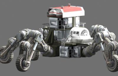未来五足监视攻击性机器车,带跳跃动画