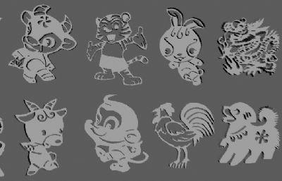 十二生肖卡通版雕刻maya模型,有OBJ格式