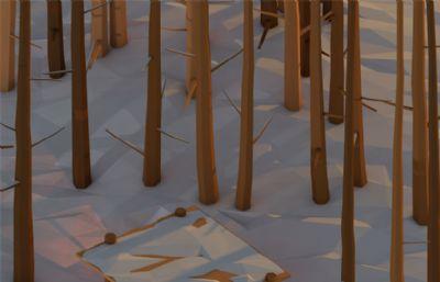 傍晚的森林小屋卡通低面C4D场景