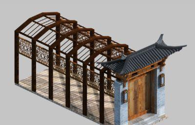 中式门头廊架两个max模型方案