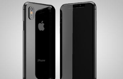 iphone x黑色款C4D素模