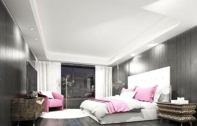 粉色现代复古酒店客房