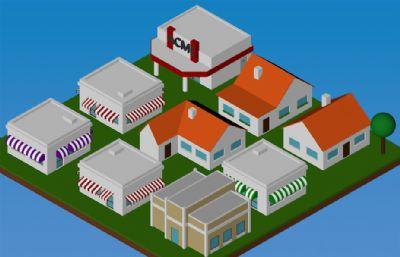 几个卡通房子,店铺C4D模型