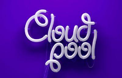 cloud pool云池創意氣球字母字體設計