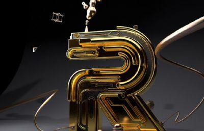 创意R字母字体设计,?#25913;?#21253;装