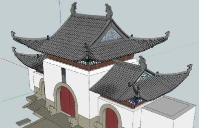 �w元�U寺寺�R建筑su模型