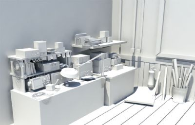 学校教室电子电器实验室maya模型