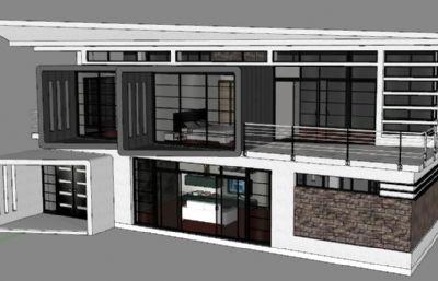个性别墅的sketchup模型