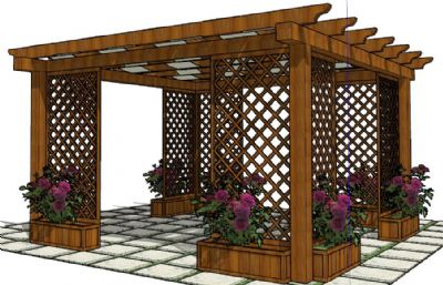 中式木制廊架,花架