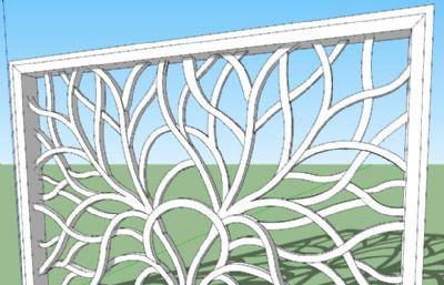 枝�~茂盛雕刻窗��su模型