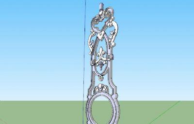 雕花柱子建筑��件su模型