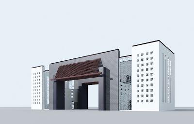 两个现代中式大门