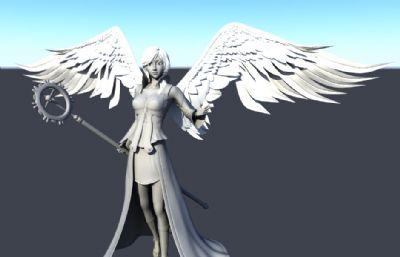 精细的次时代法师maya模型,带翅膀