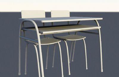 课桌,杂乱摆放的课桌,桌子椅子maya模