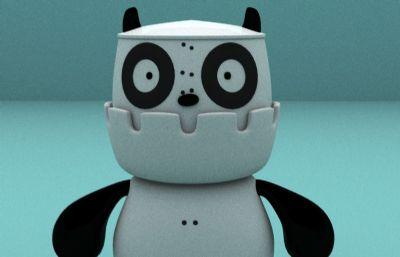 卡通萌熊�鹗�maya模型,arnold渲染
