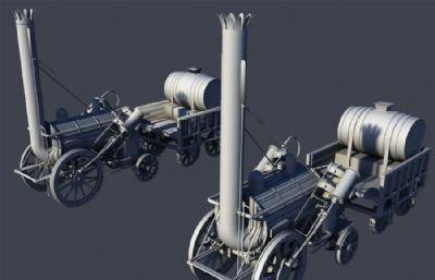 两款蒸汽机车maya模型