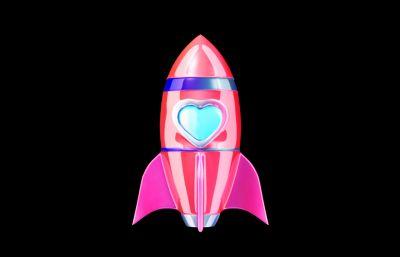 小火箭發射,精美卡通火箭,旋轉升空動畫