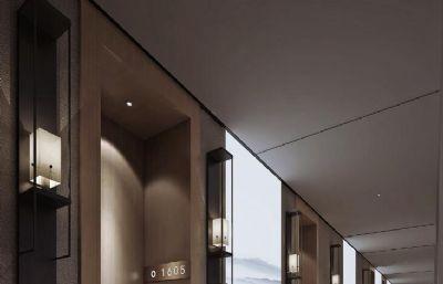 中式水墨�L酒店�^道3D模型