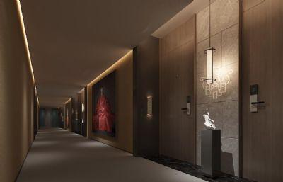 中式艺术酒店走道