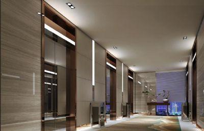 酒店垂直电梯走道