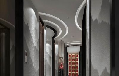 酒店电梯客房间的过道