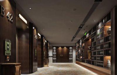 中式酒店电梯间过道