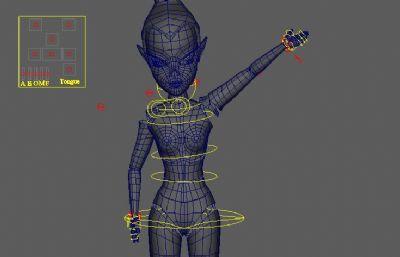 女性抬手动作maya模型