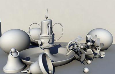 铃铛,烛台,水果静物maya模型