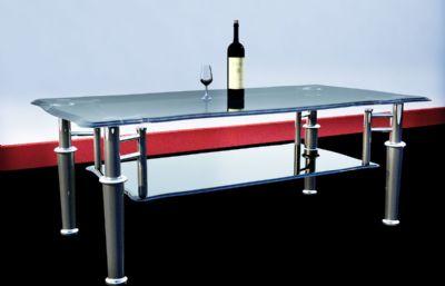 玻璃茶几+红酒酒杯maya模型