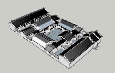 北京四合院skp模型