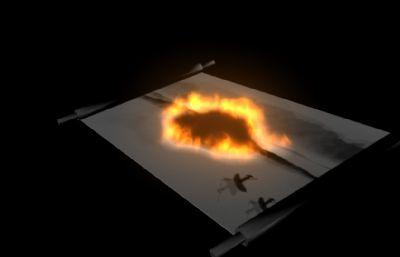 燃烧的水墨画卷,火焰特效maya模型