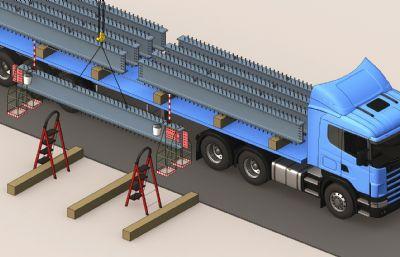 �梁吊�b,14m平板�,人字梯max模型