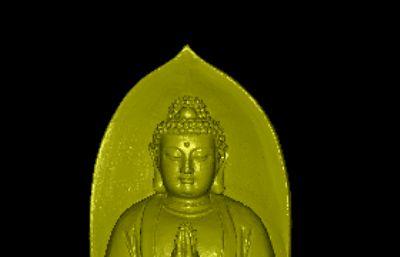 如来佛祖双手合十雕像,max,obj,stl格式
