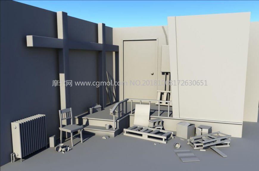 室内杂乱一角maya场景模型图片