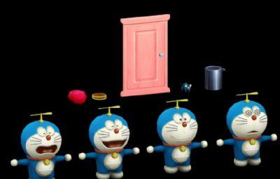 四款哆啦A�舯砬榻巧�+�r光�T及部分道具max2013模型