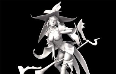 性感巫师,法师,小巫女maya模型
