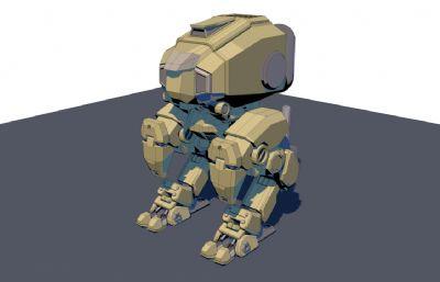 �p足坦克,重型�C器人C4D模型