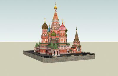 �W式城堡教堂su模型