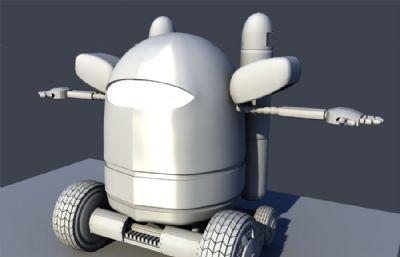 卡通六轮小机器人maya模型