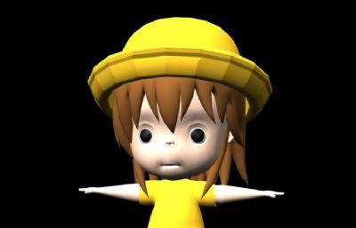 戴帽子的卡通小女孩Maya模型,有材�|