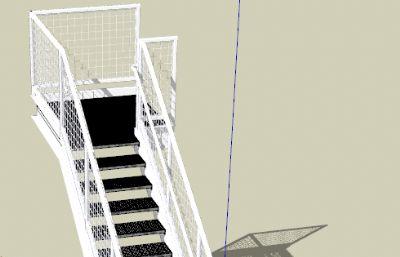 铁网楼梯su模型