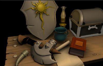 斧子,盾牌,��箱,牛角等道具�o物maya�鼍�,有材�|