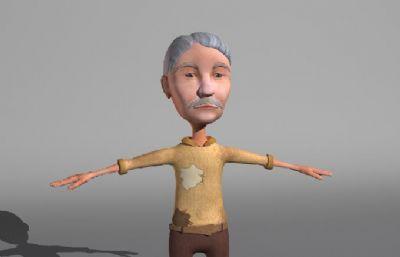 穿秋�b的老人,老�^maya模型